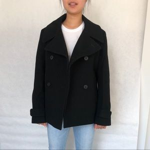 UNIQLO +J Black wool pea coat